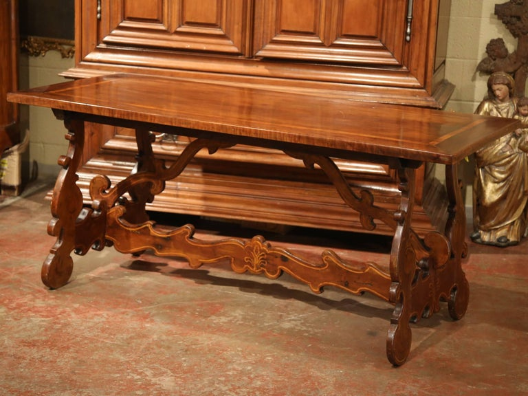 19th Century Italian Carved Walnut Trestle Table with Decorative Inlay Motifs For Sale 3