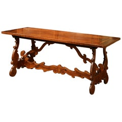 19th Century Italian Carved Walnut Trestle Table with Decorative Inlay Motifs