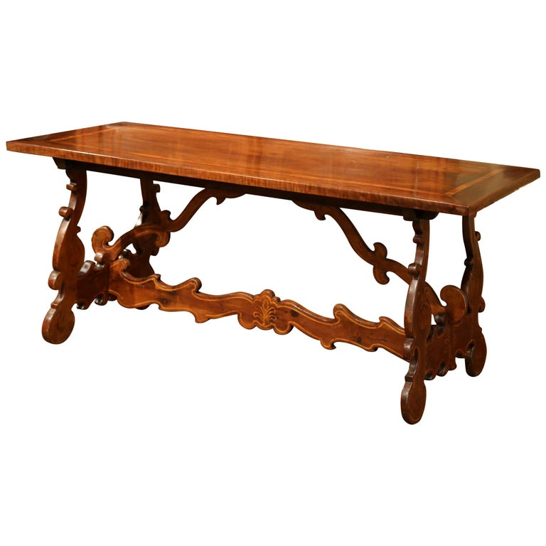 19th Century Italian Carved Walnut Trestle Table with Decorative Inlay Motifs For Sale