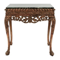 19th Century Italian Carved Wood Console With Marble Top