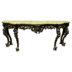 19th Century Italian Carved Wood Marble-Top Console with Puttis