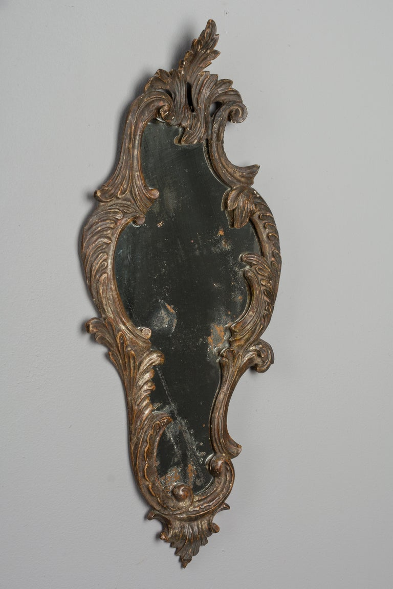 Hand-Carved 19th Century Italian Carved Wood Mirror For Sale