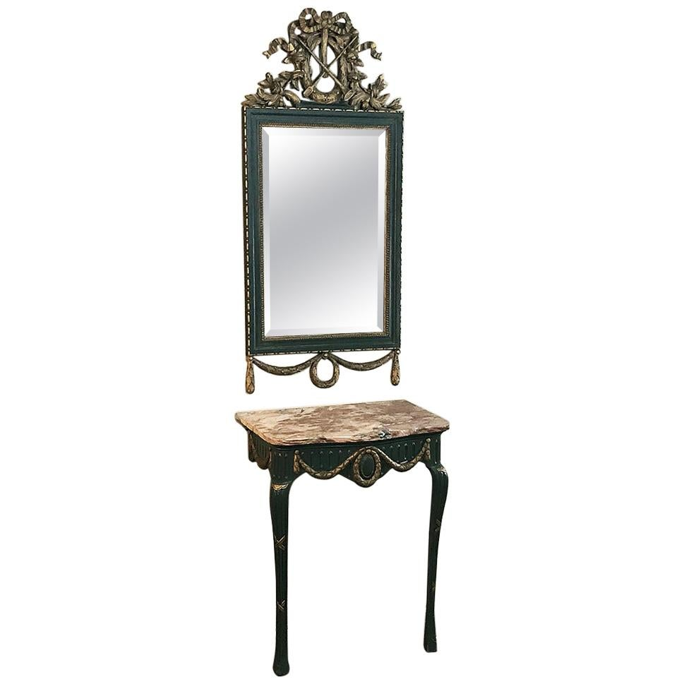 19th Century Italian Carved Wood Painted Marble-Top Console with Mirror