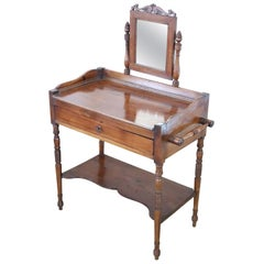 19th Century Italian Charles X Antique Walnut Vanity Table, Vanity Desk
