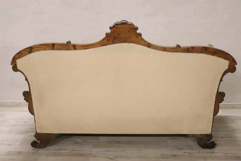 19th Century Italian Charles X Carved Walnut Antique Settee For Sale 6