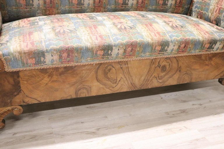 Early 19th Century 19th Century Italian Charles X Carved Walnut Antique Settee For Sale