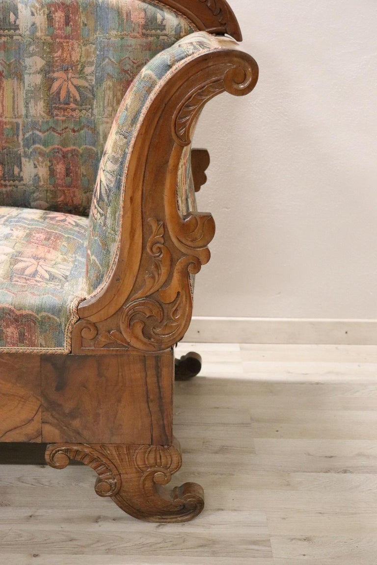 19th Century Italian Charles X Carved Walnut Antique Settee For Sale 1