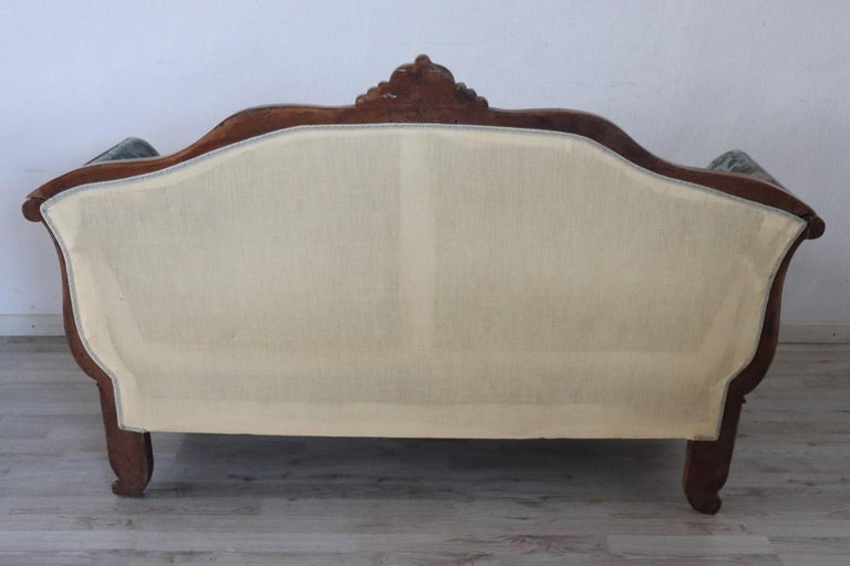 19th Century Italian Charles X Carved Walnut Antique Settee For Sale 2