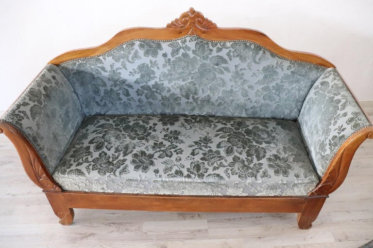 19th Century Italian Charles X Carved Walnut Antique Settee For Sale 3