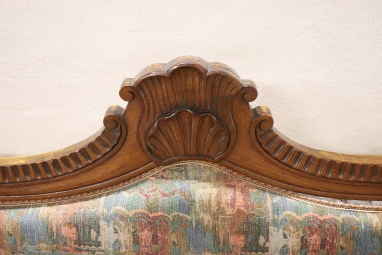 19th Century Italian Charles X Carved Walnut Antique Settee For Sale 4