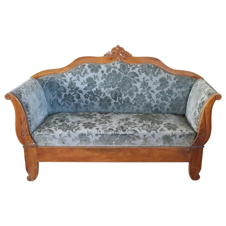 19th Century Italian Charles X Carved Walnut Antique Settee For Sale