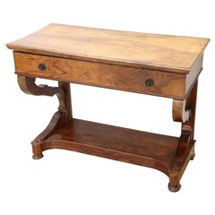19th Century Italian Charles X Carved Walnut Console Table