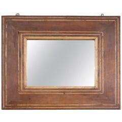 19th Century Italian Charles X Inlay Walnut Wall Mirror