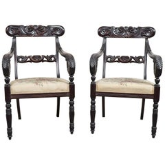19th Century Italian Charles X Mahogany Carved Pair of Armchairs, Enrico Peter
