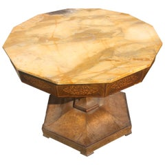 19th Century Italian Charles X Mahogany Inlaid Center Table Marble, 1830s