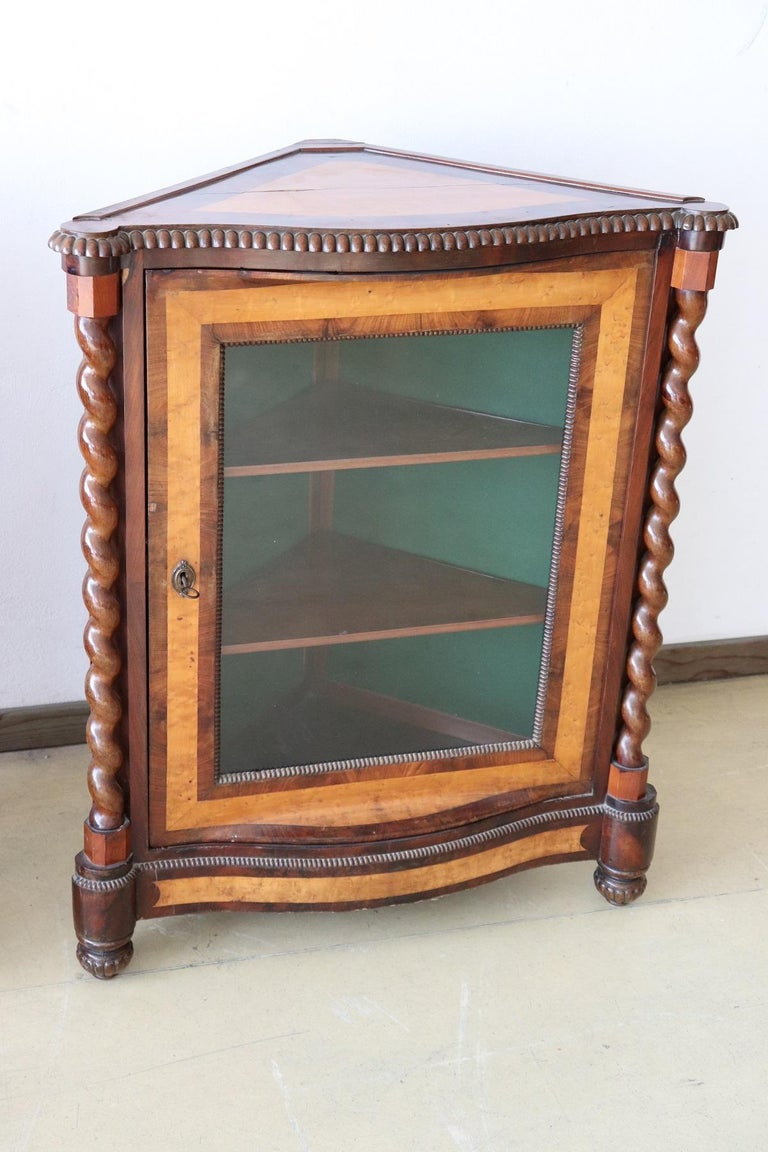 Italian Charles X corner cupboard in precious mahogany wood and birch briar. The back inside is covered in green fabric. On the front two elegant decorative turned columns. Very particular the combination of the color of the two different woods,