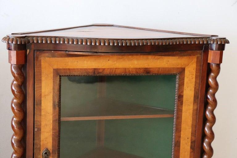 Early 19th Century 19th Century Italian Charles X Mahogany Pair of Corner Cupboard Corner Cabinet For Sale