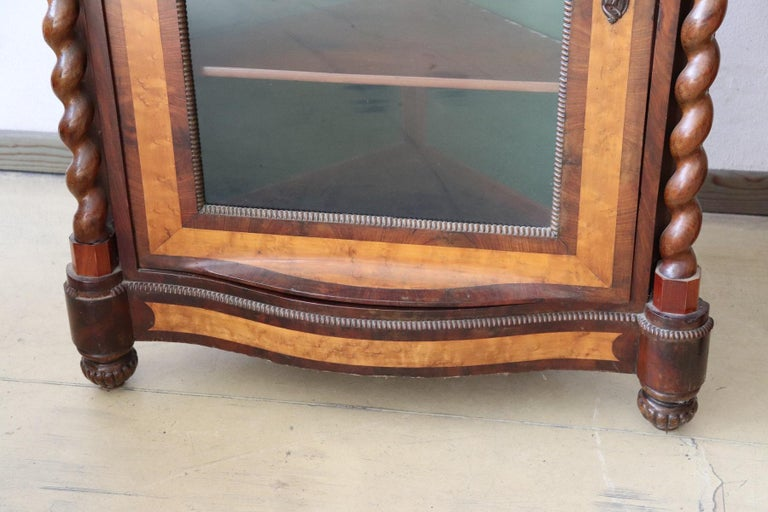 19th Century Italian Charles X Mahogany Pair of Corner Cupboard Corner Cabinet For Sale 2