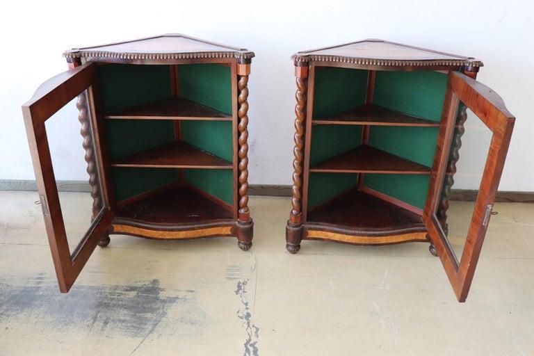 19th Century Italian Charles X Mahogany Pair of Corner Cupboard Corner Cabinet For Sale 3