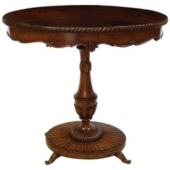 19th Century Italian Charles X Oval Centre Table in Solid Walnut and Briar Root