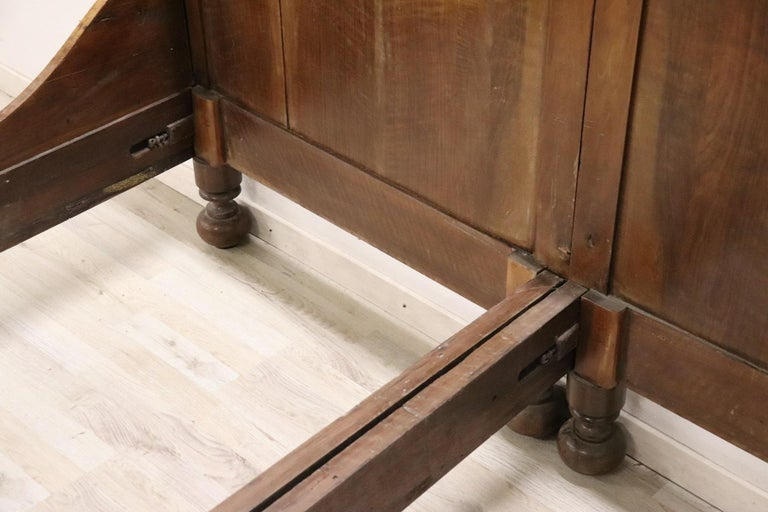 19th Century Italian Charles X Walnut Antique Double Bed For Sale 6