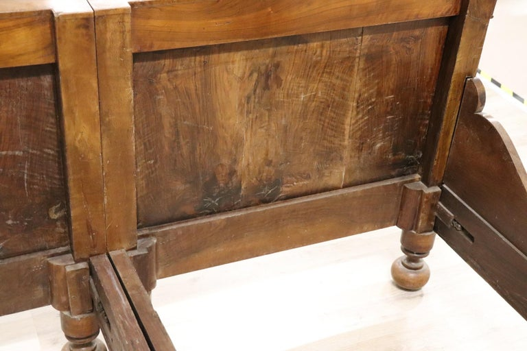 19th Century Italian Charles X Walnut Antique Double Bed For Sale 8