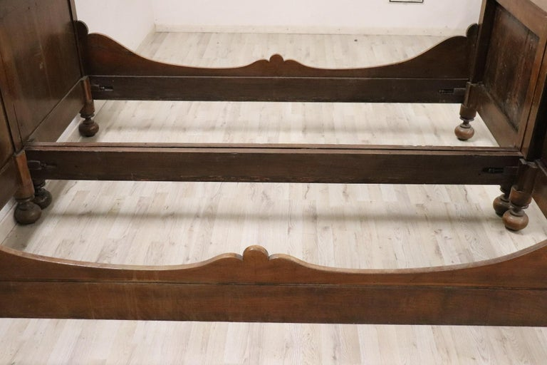 19th Century Italian Charles X Walnut Antique Double Bed In Excellent Condition For Sale In Bosco Marengo, IT
