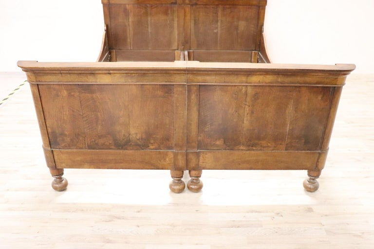 Early 19th Century 19th Century Italian Charles X Walnut Antique Double Bed For Sale