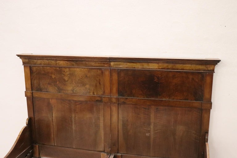 19th Century Italian Charles X Walnut Antique Double Bed For Sale 2