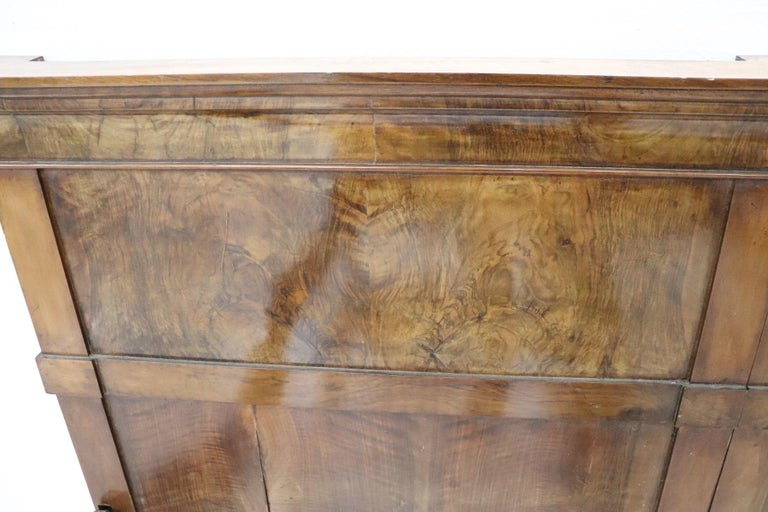 19th Century Italian Charles X Walnut Antique Double Bed For Sale 3