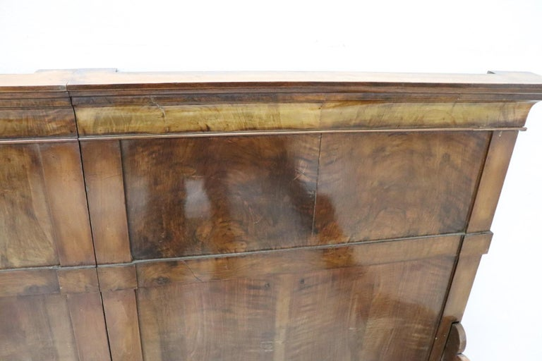 19th Century Italian Charles X Walnut Antique Double Bed For Sale 4