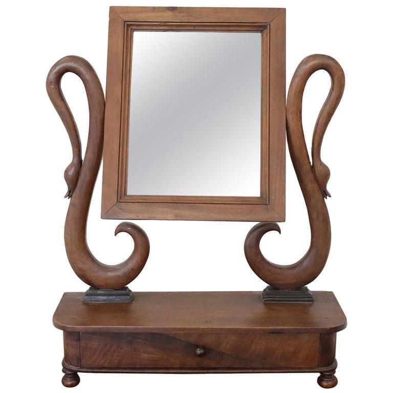 19th Century Italian Charles X Walnut Carved Dressing Table Mirror 1825