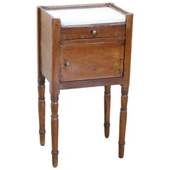 19th Century Italian Charles X Walnut Nightstand, Bedside Table with Marble Top