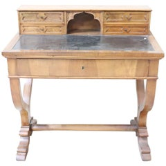 19th Century Italian Charles X Walnut Wood Writing Desk