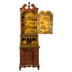 19th Century Italian Chinoiserie Decorated Secretary Desk