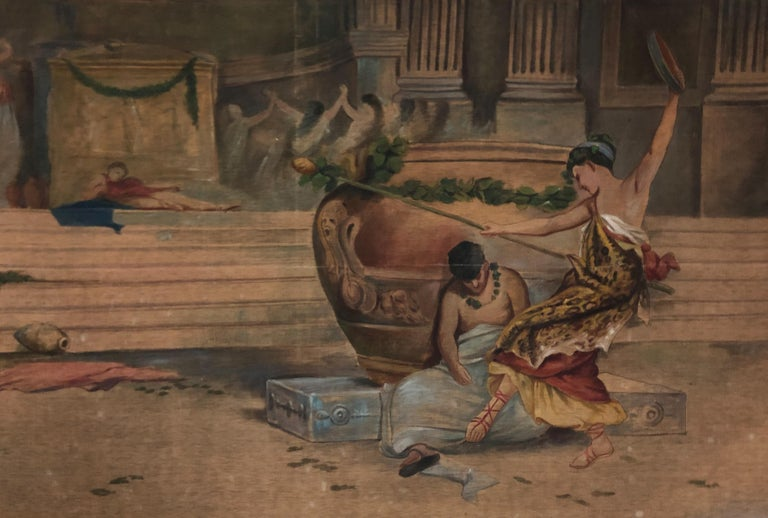 A very beautiful and classical Roman scene arras, made with the using of herb juice, an ancient arras technique invented in Japan and then diffused from the 17th-19th century in Europe and in Italy. The painting show a classical scene of roman life