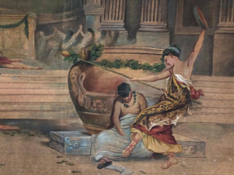 Canvas 19th Century Italian Classical Roman Arras Herb Juice For Sale