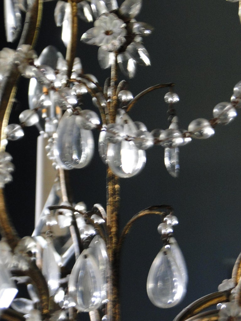 19th Century Italian Cristal Five-Light Chandelier In Good Condition In Sames, FR