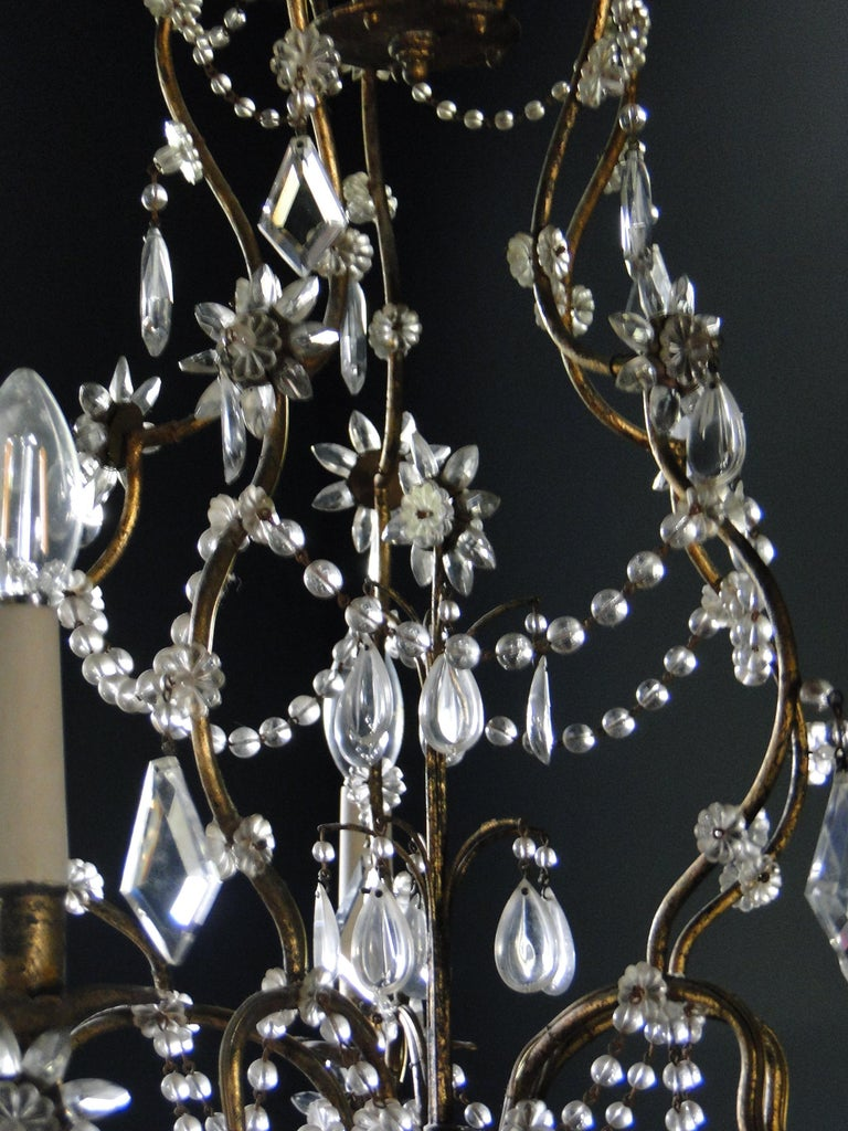 Metal 19th Century Italian Cristal Five-Light Chandelier