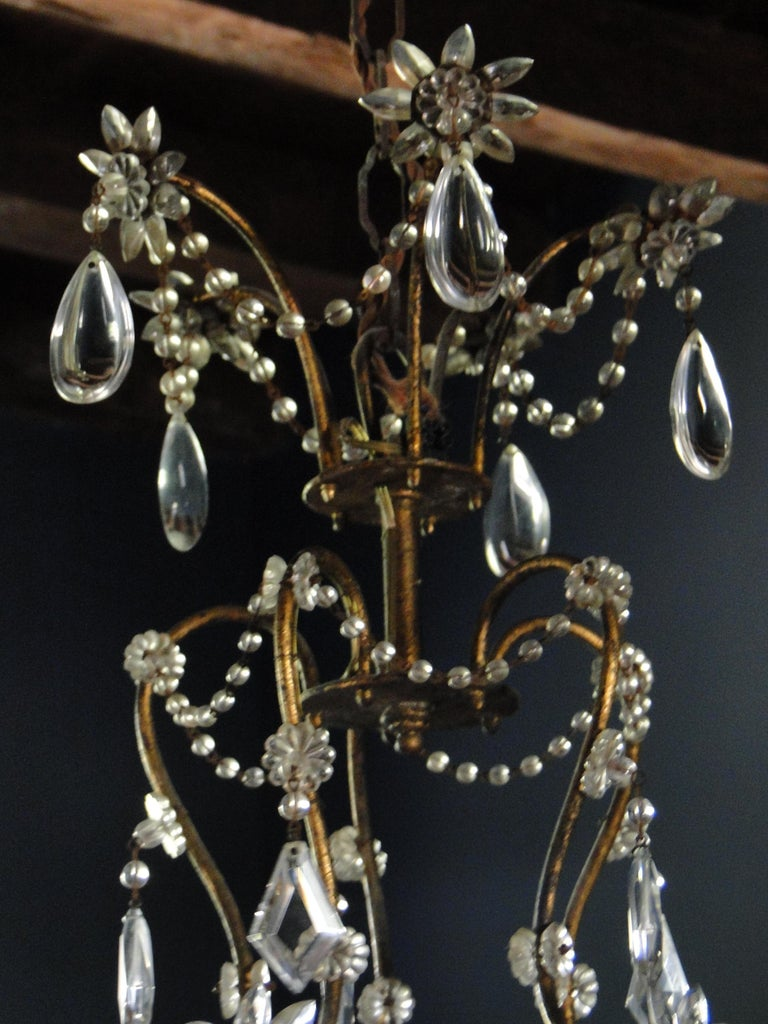 19th Century Italian Cristal Five-Light Chandelier 2