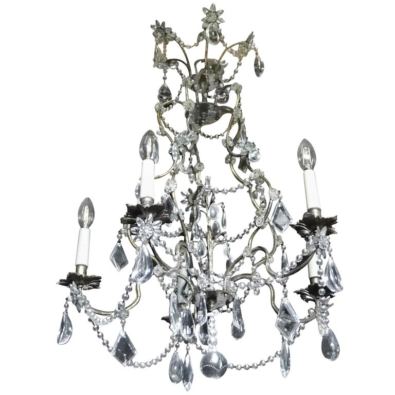 19th Century Italian Cristal Five-Light Chandelier