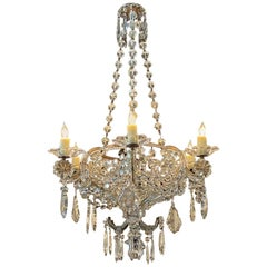 19th Century Italian Crystal 6 Light Basket Chandelier