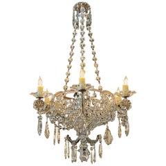 19th Century Italian Crystal 6 Light Basket Chandelier