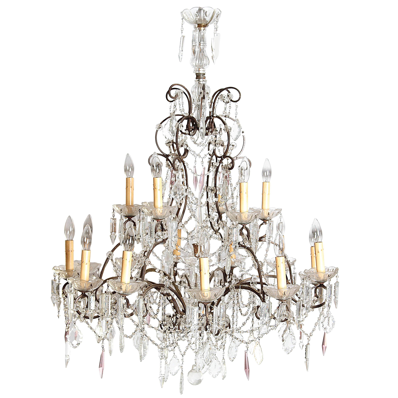 19th Century Italian Crystal and Iron Eighteen-Light Chandelier