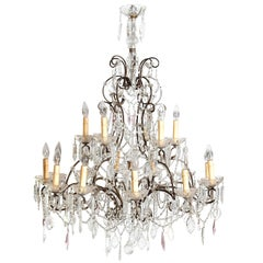 19th Century Italian Crystal and Iron Eighteen-Light Chandelier