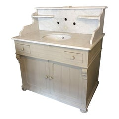 19th Century Italian Cupboard Sink with Carrara Marble Top, 1890s