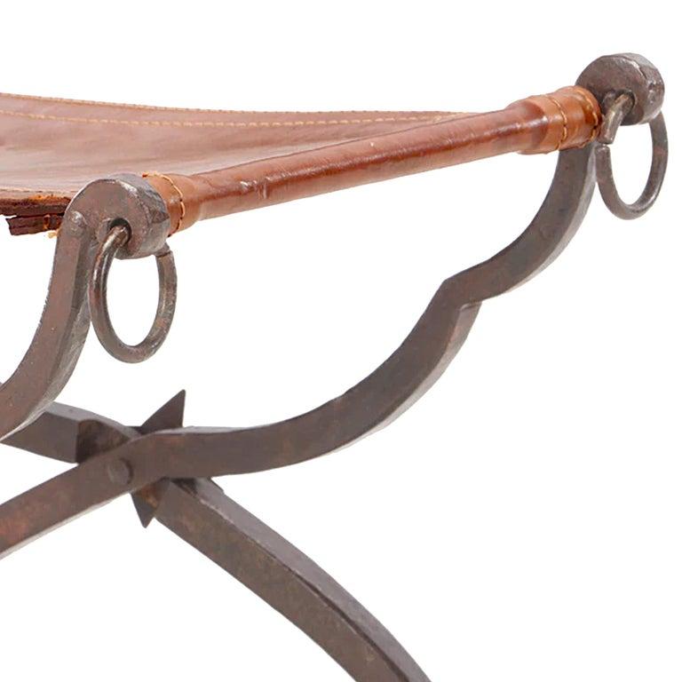 Leather 19th Century Italian Curule Stool For Sale