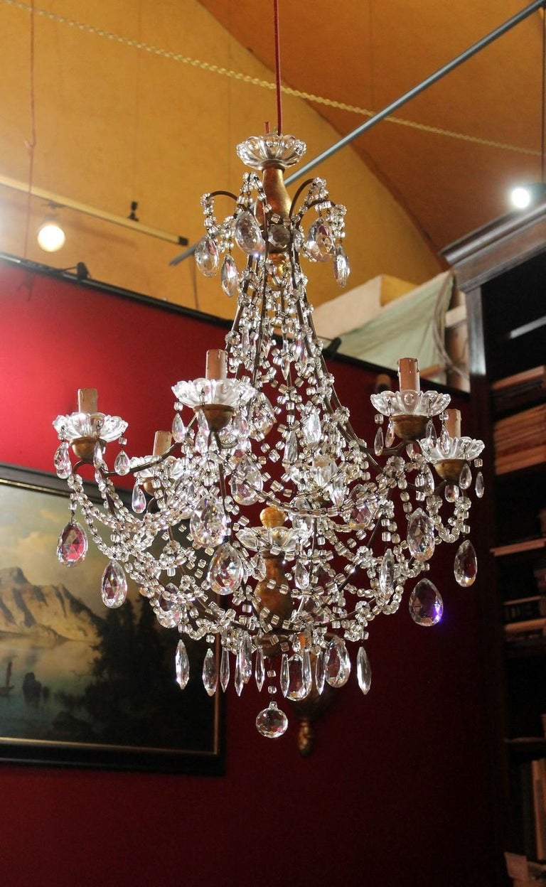 19th Century Italian Cut Crystal Beaded Gilt Iron Bird Cage Structure Chandelier For Sale 5