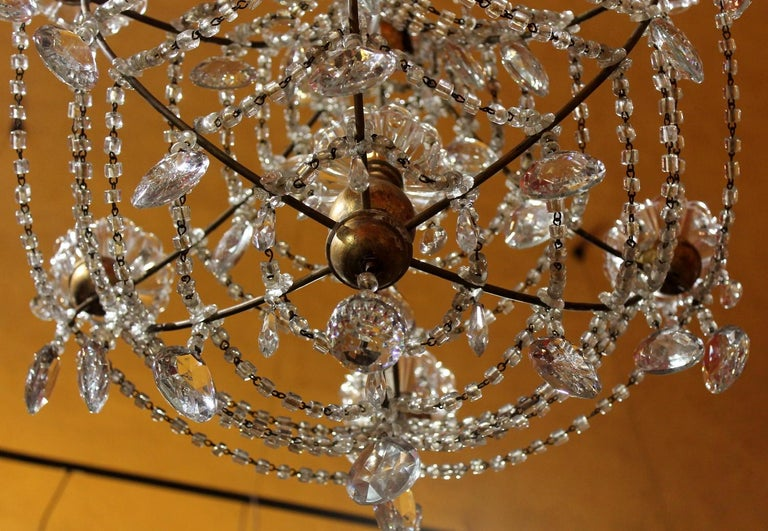 19th Century Italian Cut Crystal Beaded Gilt Iron Bird Cage Structure Chandelier For Sale 6
