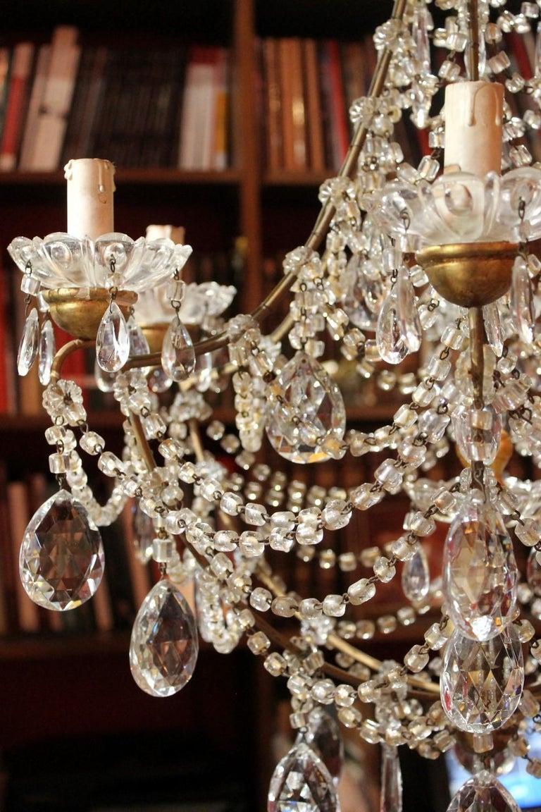 19th Century Italian Cut Crystal Beaded Gilt Iron Bird Cage Structure Chandelier For Sale 7